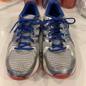 ASICS Silver Blue and Pink Sneakers